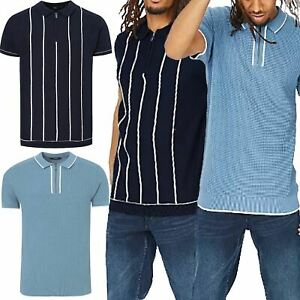 Ex-George Mens Half Zip Knitted Polo Shirt Short Sleeve 100% Cotton Jumper Pique