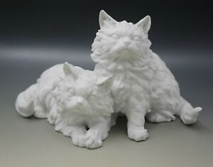 KAISER W.GERMANY BISQUE PORCELAIN LARGE CAT SCULPTURE W. GAWANTKA