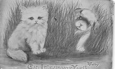 Kitten & Puppy 1911 Artist signed Postcard by V. Colby Can I Play In Your Yard?