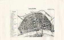 Stampa antica KOLN COLONIA COLOGNE pianta della città 1870 Old antique map print
