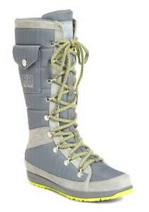Helly Hansen Womens Mid Grey Wasabi Green Lace Up Parka Boots Shoes