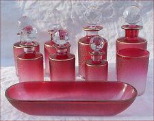 Antique French Saint Louis Cut Gilt Cranberry Crystal Glass Vanity Perfume Set