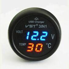 Zigaretten-Feuerzeug-Art-Digital-Thermometer-Anzeige Voltmeter mit USB-Ladegerät