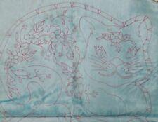 New listing Tri-Chem Vintage 8130 Cat Pillow pattern- Rayon & Cotton Fabric-Light Blue