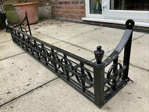 Large Heavy Wrought Iron Wall Planter 4.5ft 137cm Black
