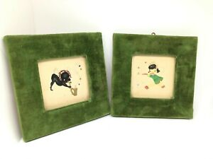 ANTIQUES pair of SMALL ASIAN WATERCOLOR PAINTINGs