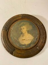 Antique Carved Wood Chimney Flue Cover Woman Lady Print