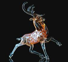 Deer Glass Figurine, Blown Art, Brown and Yellow Animal Sculpture
