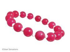 Chunky Hot Fucshia Pink Jade & Brilliant White Beaded Stretch Fashion Bracelet