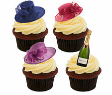 Ladies Day Hats Edible Cup Cake Toppers, Standup Horse Racing Queens Birthday