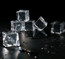 50pcs Clear Fake Artificial Acrylic Ice Cubes Crystal Square Display Party Decor