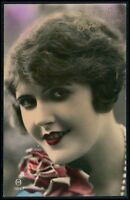 Lady flapper deco tinted woman fashion glamour original 1920s photo postcard f09