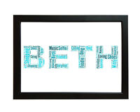 Personalised Word Art Name Picture Frame For Birthday Christening Gift Keepsake