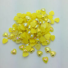 New 12mm 50pcs Heart-Shaped Pearl Bead Flat Back Scrapbook For Craft Yellow