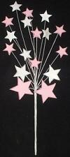 PINK & WHITE ICING SHOOTING STAR BURST FOUNTAIN CAKE TOPPER DECORATION MEDIUM