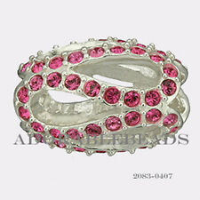 Authentic Chamilia Silver Crystal Glistening Meander Pink Bead 2083-0407