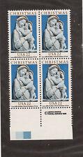 Scott # 2165 Christmas Issue United States U.S. Stamps Mnh - Margin Block of 4