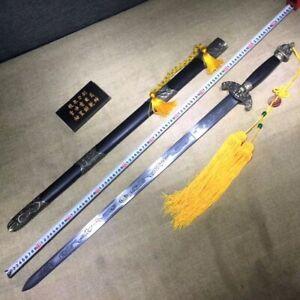 Forged Wu Shu Sword Chinese Dragon Phoenix rapier Temper straight Blade