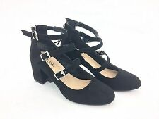 "Just Fab ""Marya"" Pumps, 3 Strap, Black, Suede, Women's Size 7"