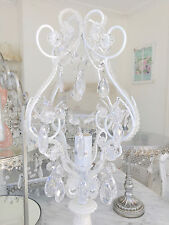 Classic Hamptons Beaded Candelabra Table Lamp Crystal Prism White More Available