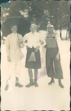 Postcard 1930's 3 men in Fancy Dress Switzerland Alpine Holiday