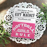 DecoWords Gift Magnet * Softball Girls Rule Team play fastpitch Pink USA NEW Pkg