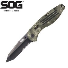 SOG - AEGIS TANTO Assisted Opening Knife DIGI CAMO Part Serrated AE-07 New