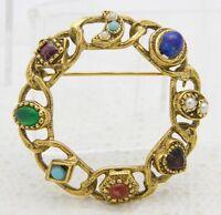 VTG Gold Tone Heart Moon Multi-Color Rhinestone Cabochon Wreath Brooch Pin
