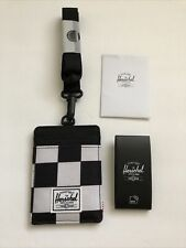 New Herschel Supply Men's Street Card Holder Lanyard Wallet RFID Protect Checked