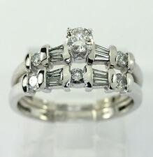 Platinum diamond engagement ring wedding band set round brilliant baguette .65CT