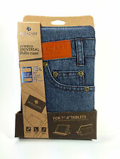 "Denim Case for iPad Mini and 7""-8"" Tablets. Miracase Cowboy Jeans Pocket Design"