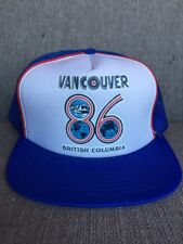 Vtg Vancouver Expo 86 Blue Trucker Hat Mesh Snap Back British Columbia 1986 80's