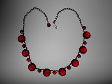 """Antique Vintage Art Deco Style Ruby Red Glass Open Back Necklace 20 """""""