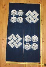 Vintage Japanese Indigo Cotton Shibori Tie Dye Geometric NOREN Curtain