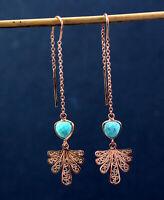 925 Sterling Silver Turquoise Gemstone Rose Gold Plated Drop Earring KE1047