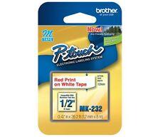 """Brother MK232 M 1/2"""" inch 12mm red on white label tape PT65 PT70 PT80 PT85 PT90"""
