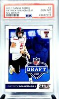 2017 Score NFL Draft Chiefs PATRICK MAHOMES II RC CARD PSA 10 GEM MINT