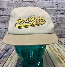 Vintage  Agrigold Corn Specialists Ball Cap Hat Tan Made In USA