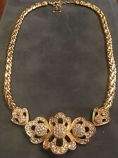 Beautiful CHRISTIAN DIOR Pave Crytal Necklace Gold-tone Designer