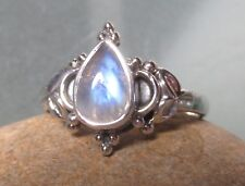 Sterling silver everyday rainbow moonstone ring UK M¾/US 6.75. Gift bag.
