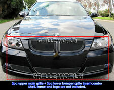 Fits 06-07 Bmw 325I /2006-2007 Bmw 330I Black Stainless Steel Mesh Grille Combo