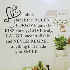 LIFE IS SHORT DIY REMOVABLE WALL STICKER GLASS DECOR 1303