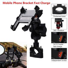 Motorcycle ATV Mirror Screw Phone GPS Holder Mount Bracket w/Fast USB Charger