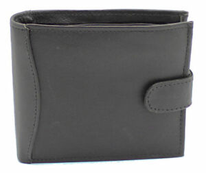 Mens RFID Real Leather Wallet With Zip Pocket Coin Pouch & ID Window 340 Black
