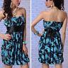 Blue/Black Floral Dress Party Mini Dress Strapless Empire Waist Cocktail M-XL US