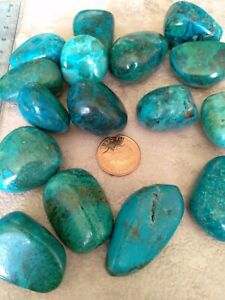 1 x A Grade Chrysocolla Crystal Tumblestone - Large 28-40mm
