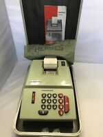Vintage Hermes Precisa 209-8 Mechanical Calculator/Adding Machine w/ Case&Cover