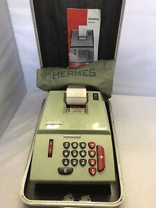 Vintage Hermes Precisa 209-8 Mechanical Calculator/Adding Machine w/ Case&Cover
