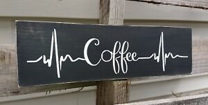 Rustic wood sign COFFEE bar heartbeat wooden farmhouse kitchen tea small 12""