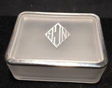 ART DECO  FROSTED GLASS /SILVER POWDER/JEWELRY/TRINKET BOX POWDER PUFF 1920s